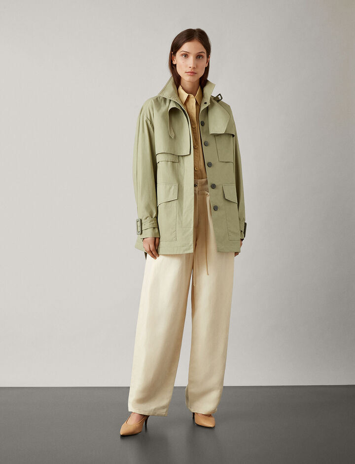 Joseph, Warrick Short Feather Trench Coat, in SAGE
