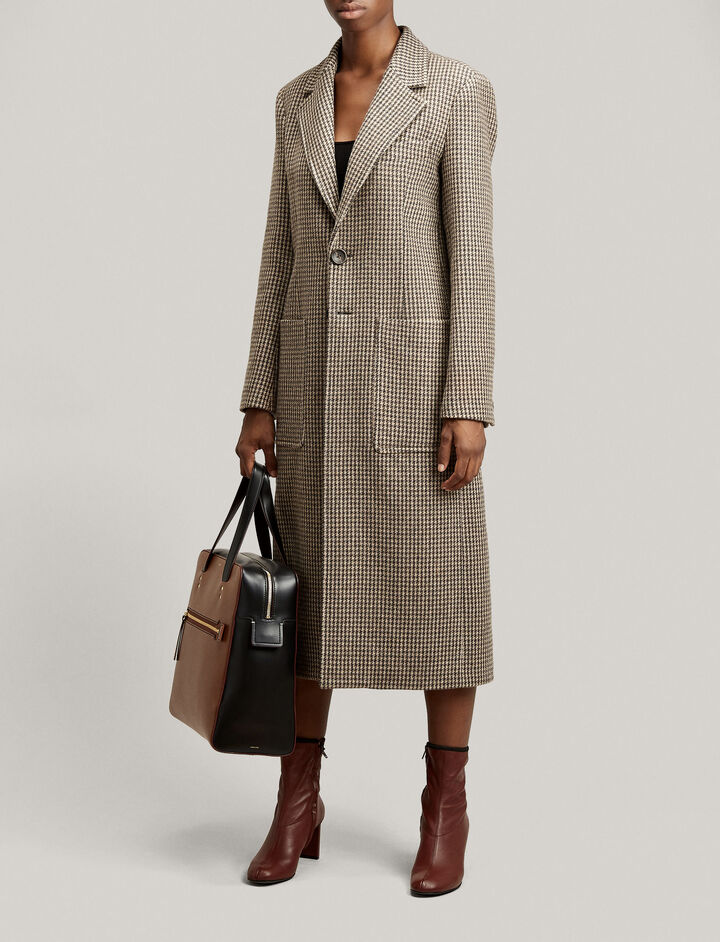 Joseph, Marko Houndstooth Coat, in CAMEL