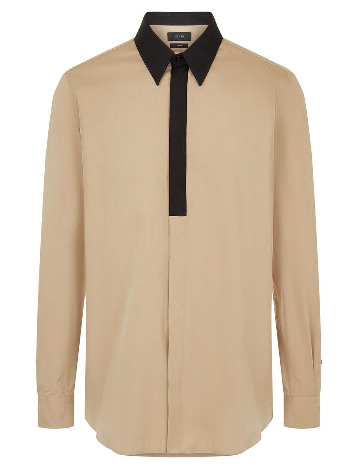Joseph, Montecarlo Poplin + Ppln Stretch Shirt, in CAMEL COMBO