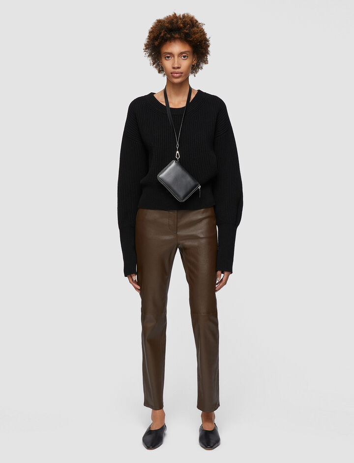 Joseph, Leather Stretch Teddy Trousers, in PINECONE
