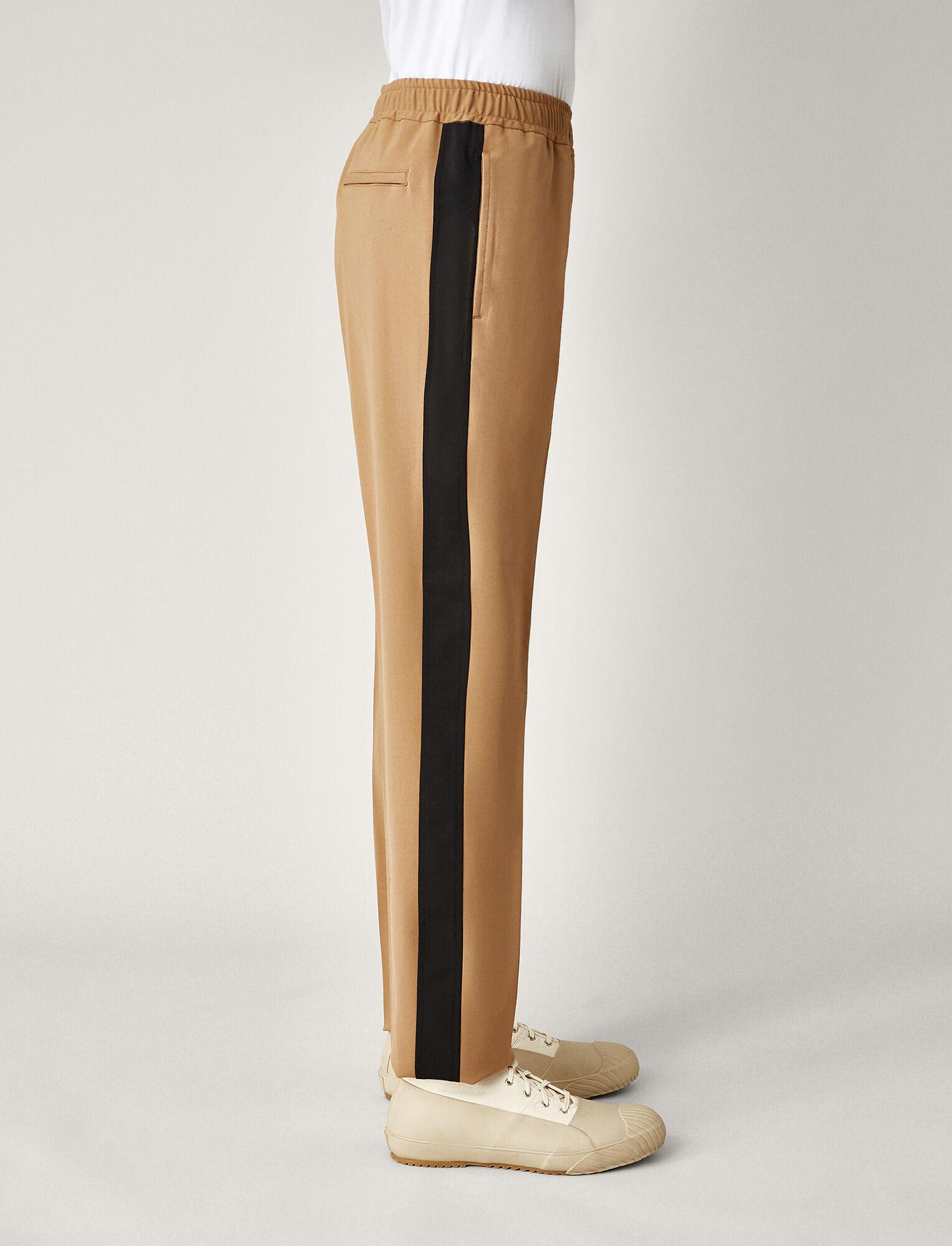 Joseph, Eza Techno Wool Stretch Tricolours Trousers, in CAMEL COMBO