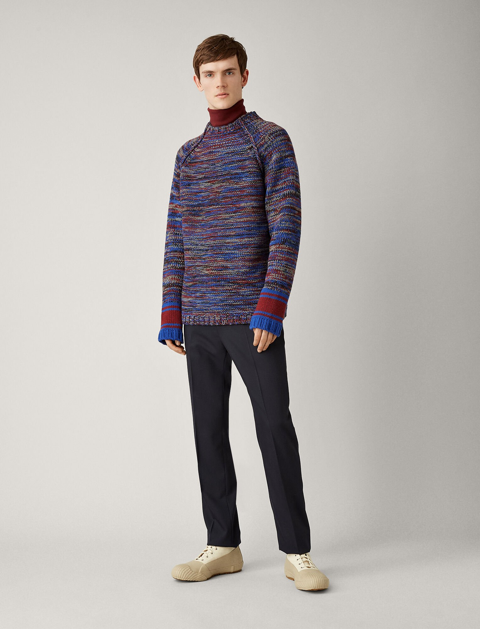 Joseph, Oversized Sweater Chunky Mouline Knit, in BLUE COMBO
