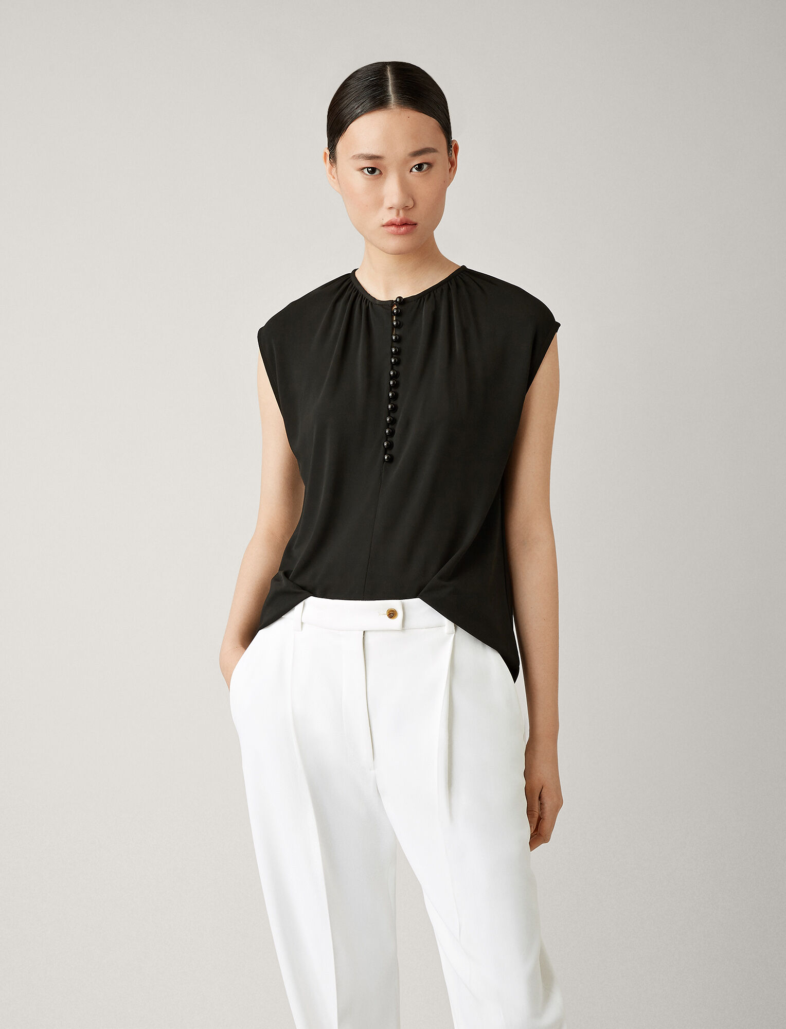 Joseph, Button Top Crepe Jersey, in BLACK