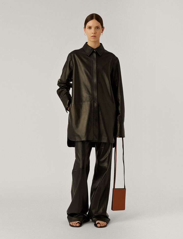 Joseph, Jason Nappa Leather Shirt, in Black