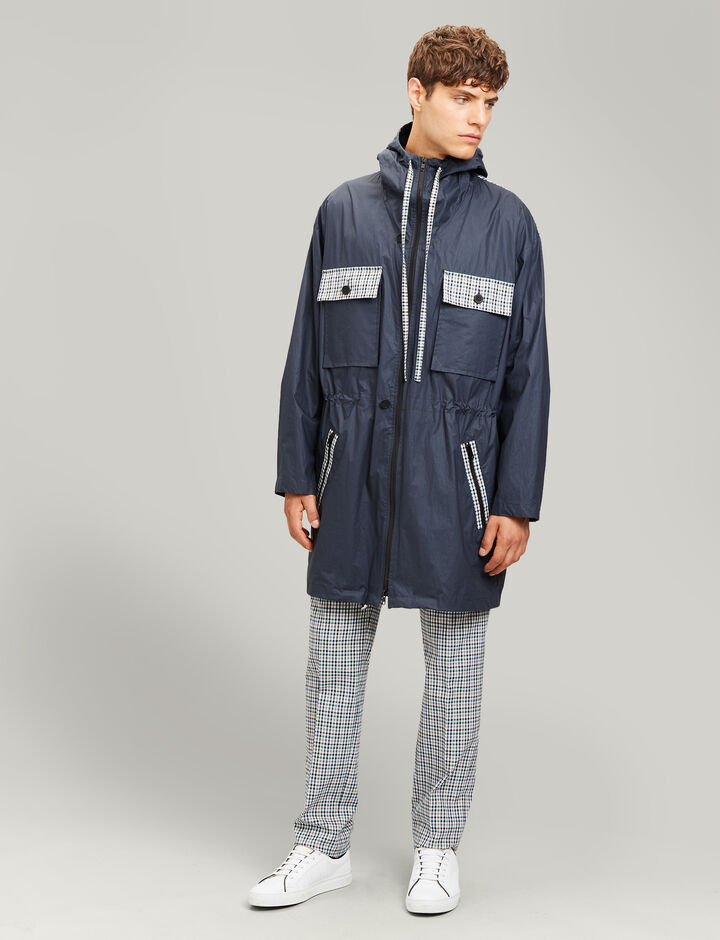Joseph, Agnes Poplin Coated + Check Coat, in NAVY