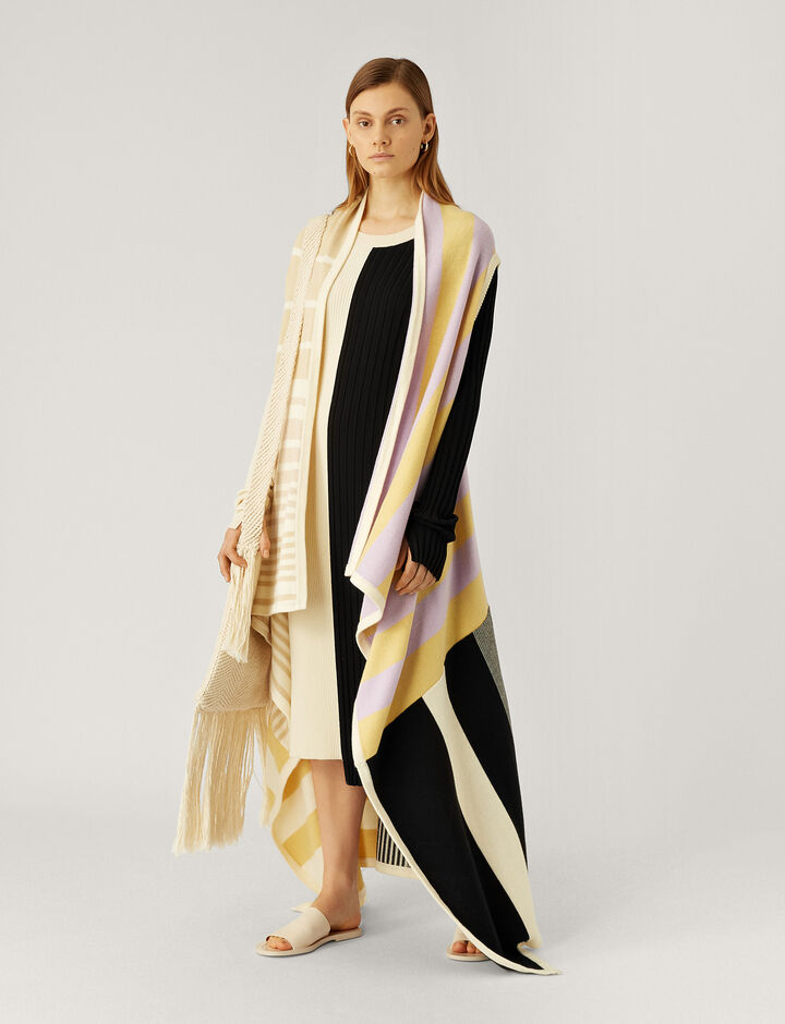 Joseph, Cape-Patchwork Knit, in MULTICOLOR