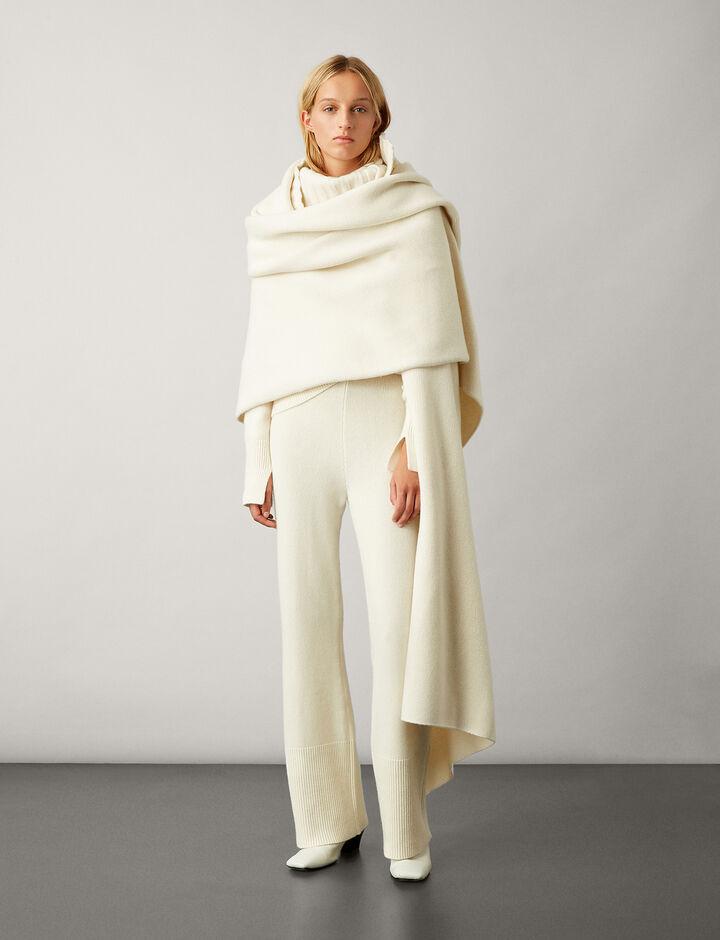Joseph, Boiled Wool Snood Scarf, in CREAM