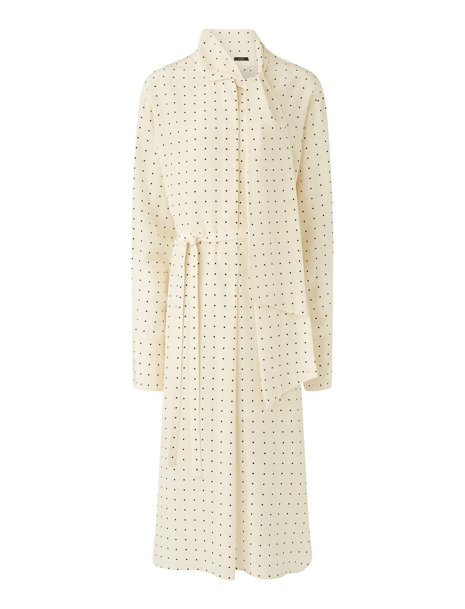 Joseph, Silk Polkadot Doriane Dress, in IVORY/BLACK