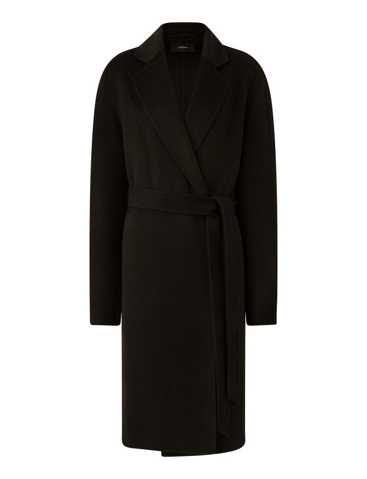 Joseph, Cenda Long Dbl Face Cashmere Coats, in Black