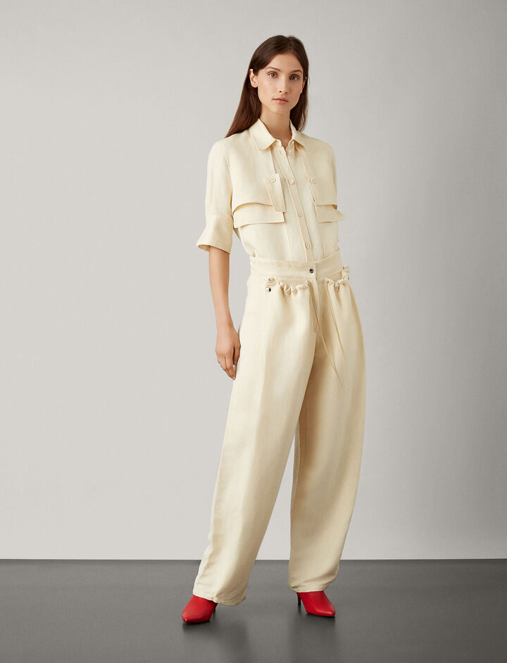 Joseph, Presley Fluid Ramie Trousers, in BONE