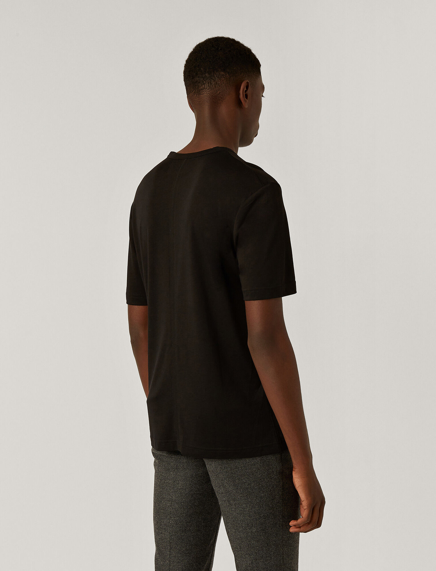 Joseph, Lyocell Jersey V Neck Tee, in BLACK