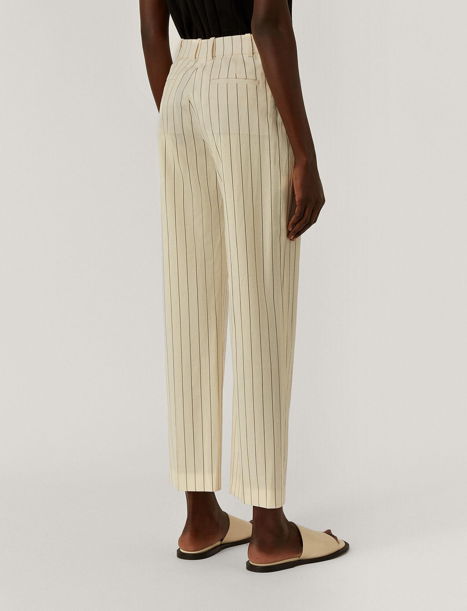 Joseph, Wool Spring Stripe Sloe Trousers, in IVORY