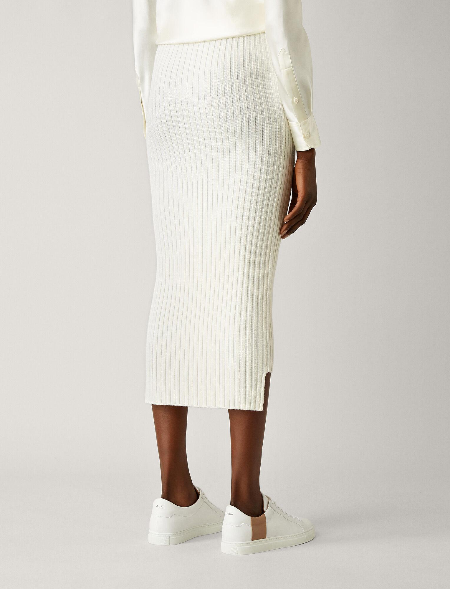 Joseph, Wool Viscose Rib Long Skirt, in BONE