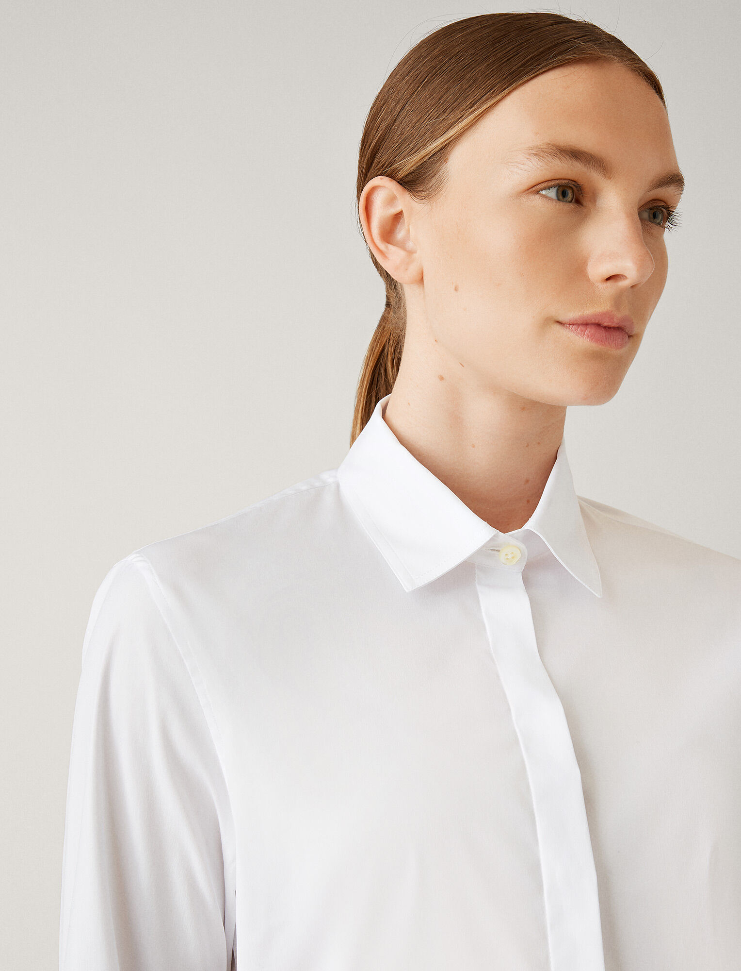 Joseph, Edith Poplin Stretch Blouse, in WHITE