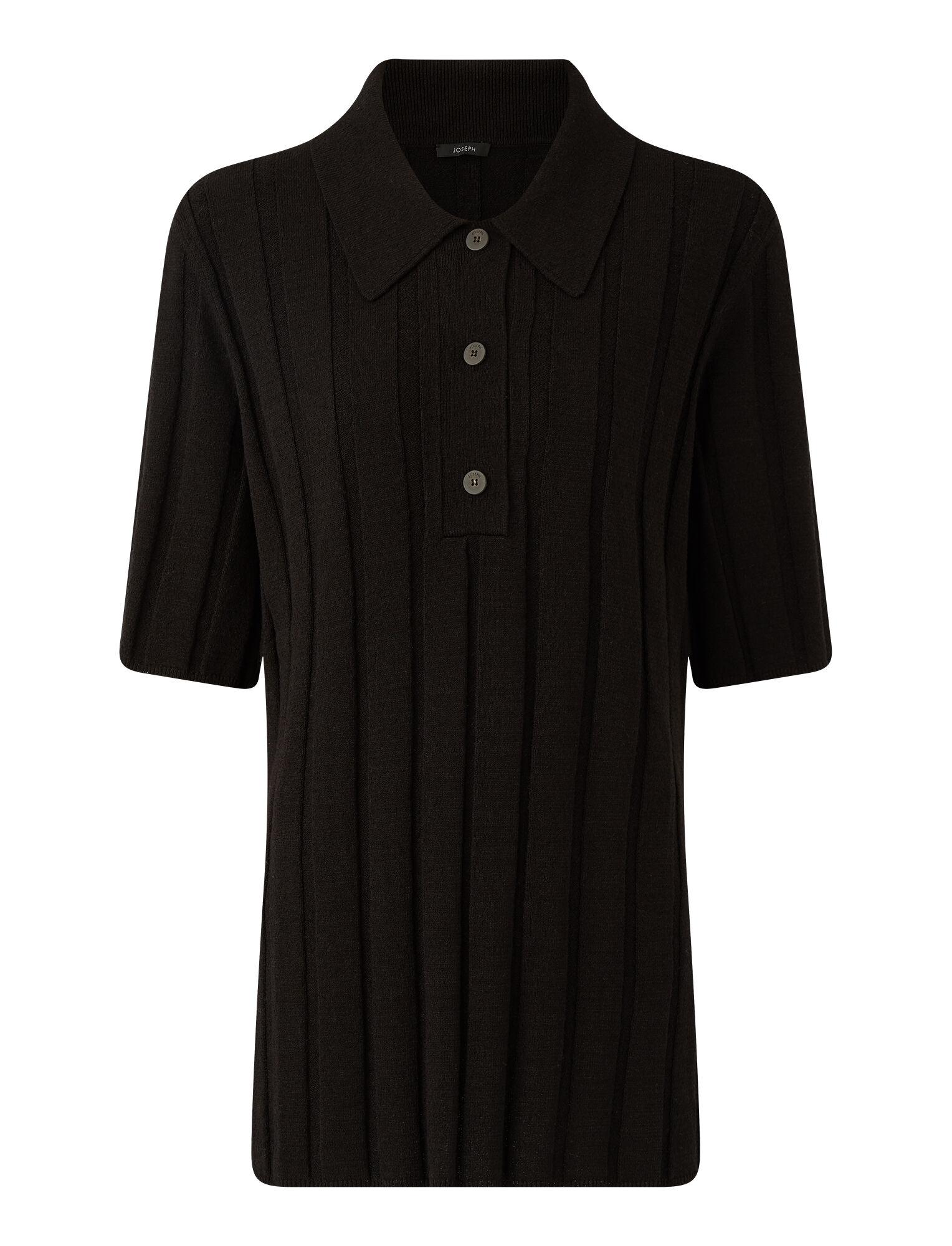 Joseph, Polo côtelé texturé, in BLACK