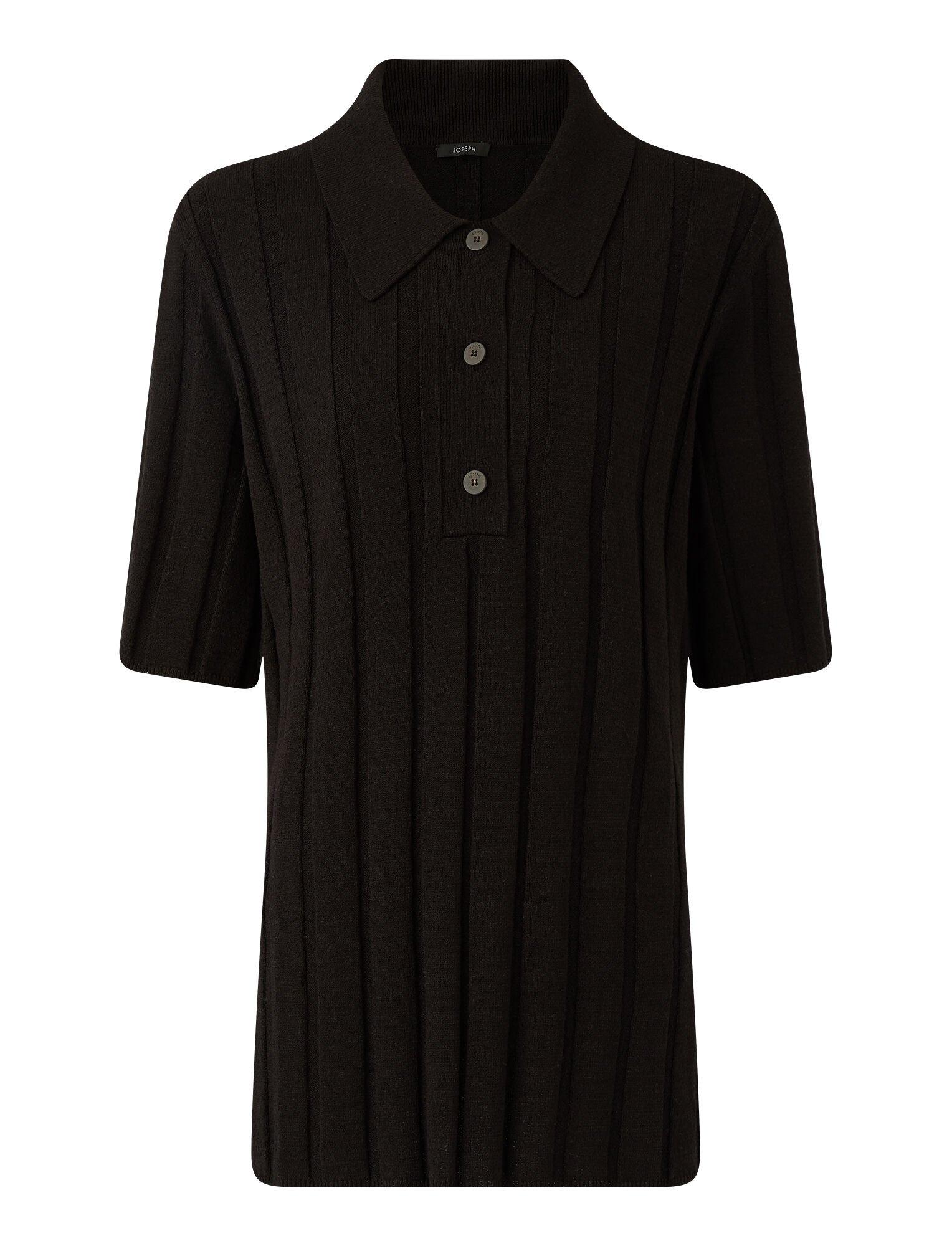 Joseph, Textured Rib Polo Top, in BLACK