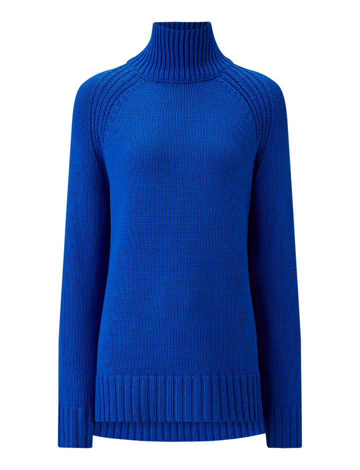Joseph, High Neck Sloppy Joe Knit, in PLASTIC BLUE