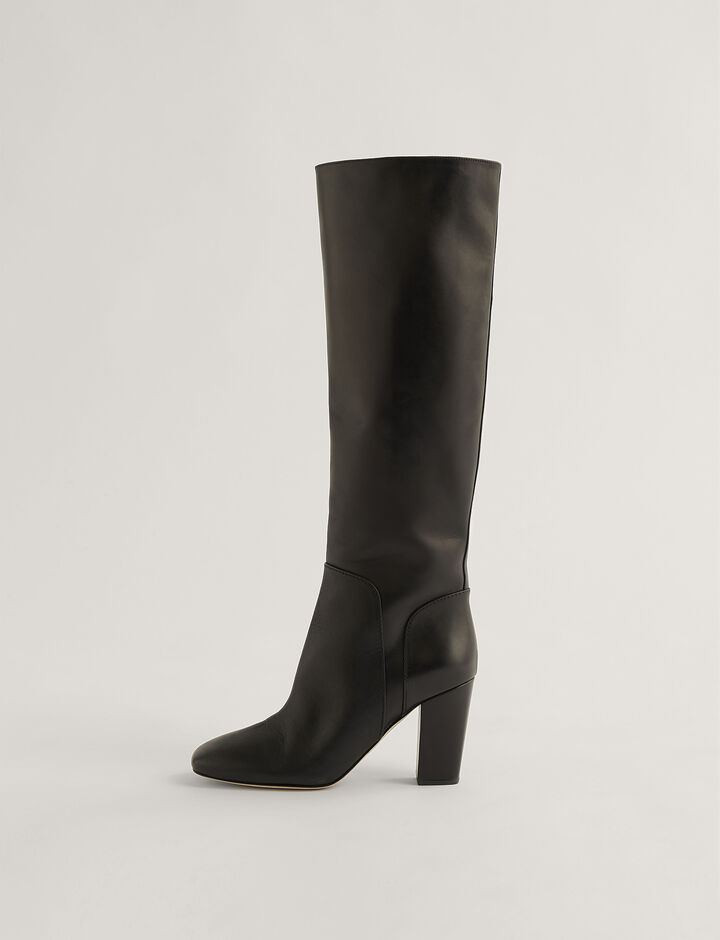 Joseph, Square Heel Long Boots, in Black