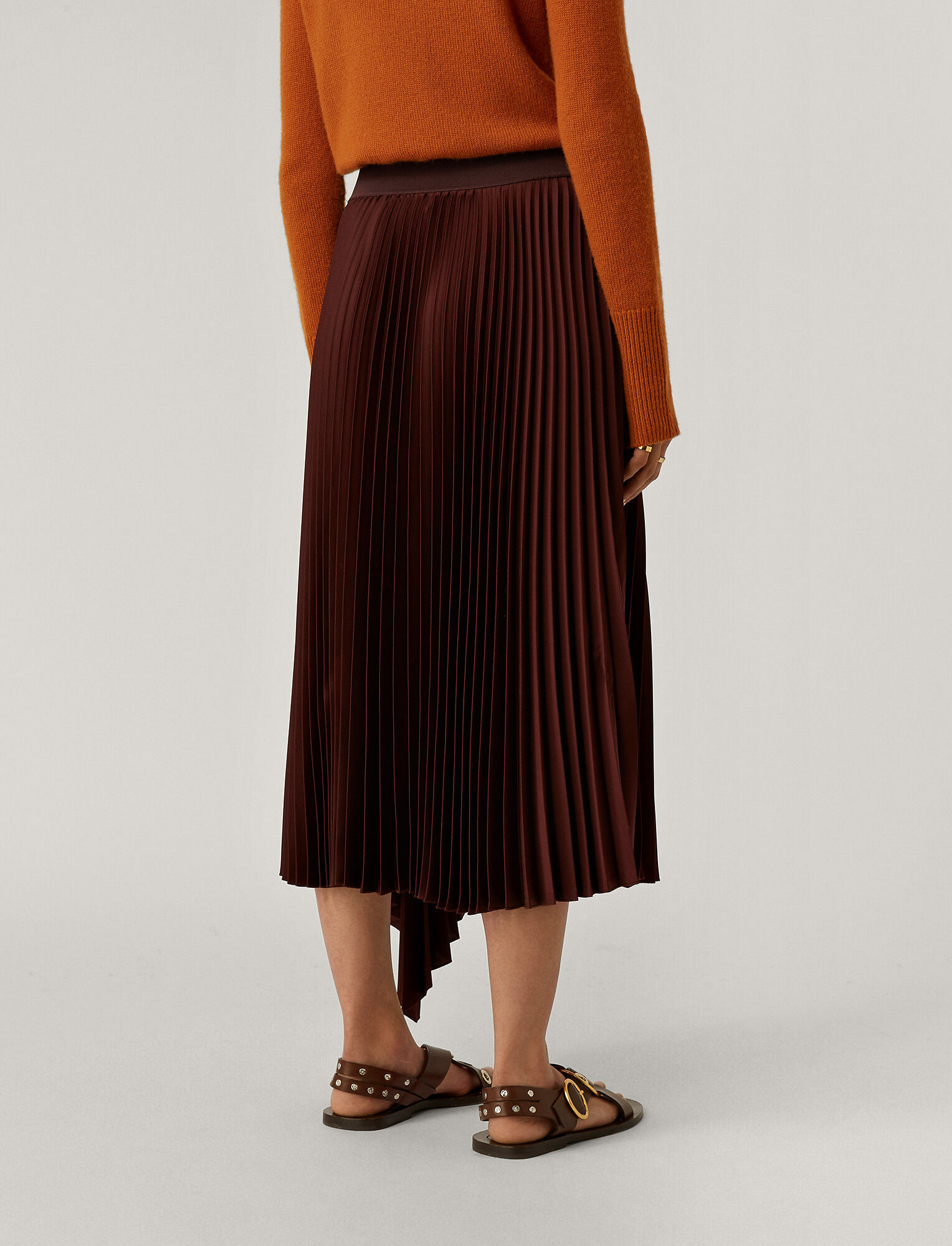 Joseph, Sabin Knit Weave Plissé Skirt, in Ganache