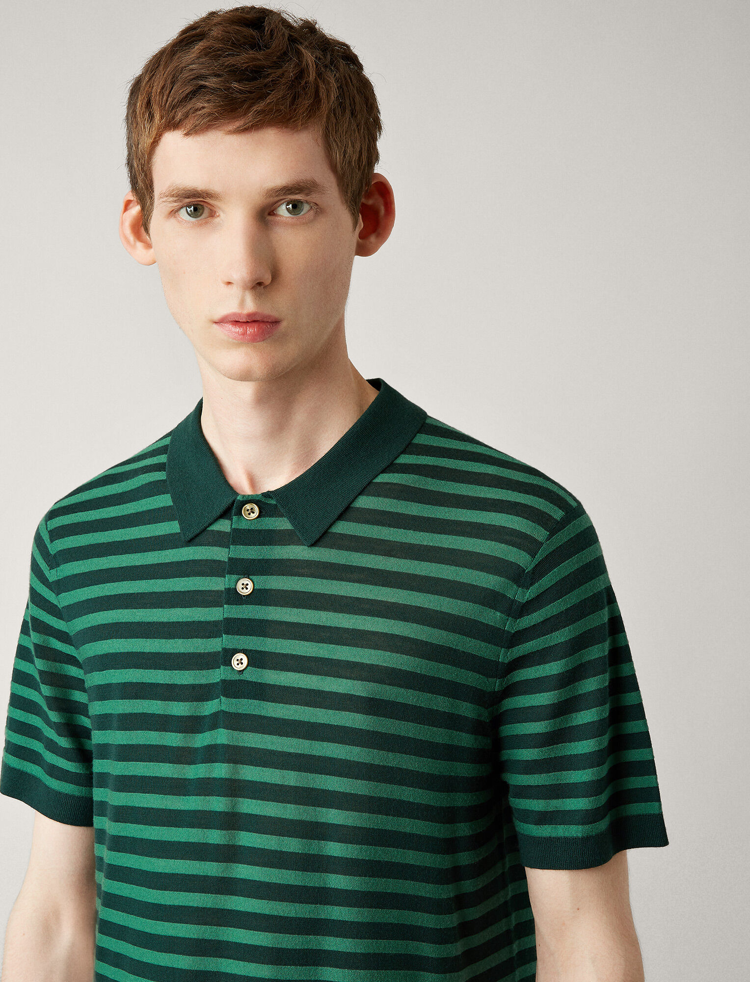 Joseph, Polo Light Stripe Merinos Knit, in FOREST