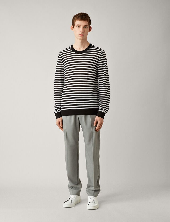 Joseph, Crew Nk Ls-Light Stripe Merinos, in BLACK