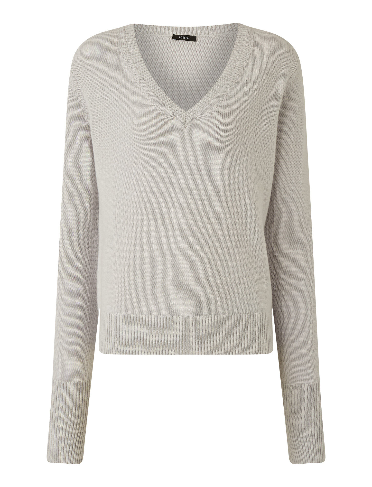 Joseph, Pure Cashmere V Neck Jumper, in SILVER