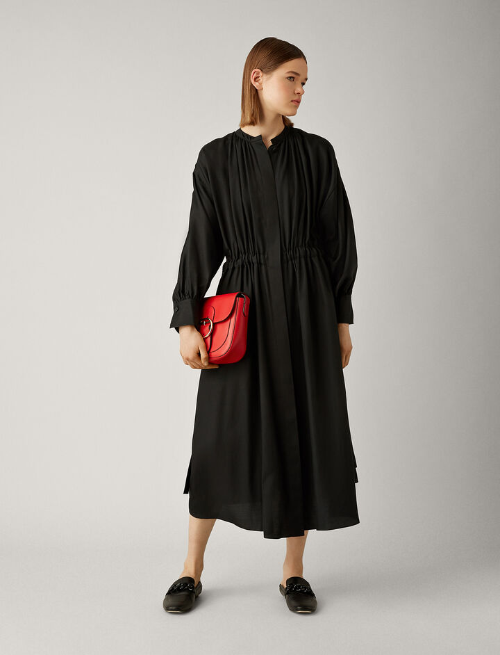 Joseph, Rafael Cotton Silk Shirting Dress, in BLACK