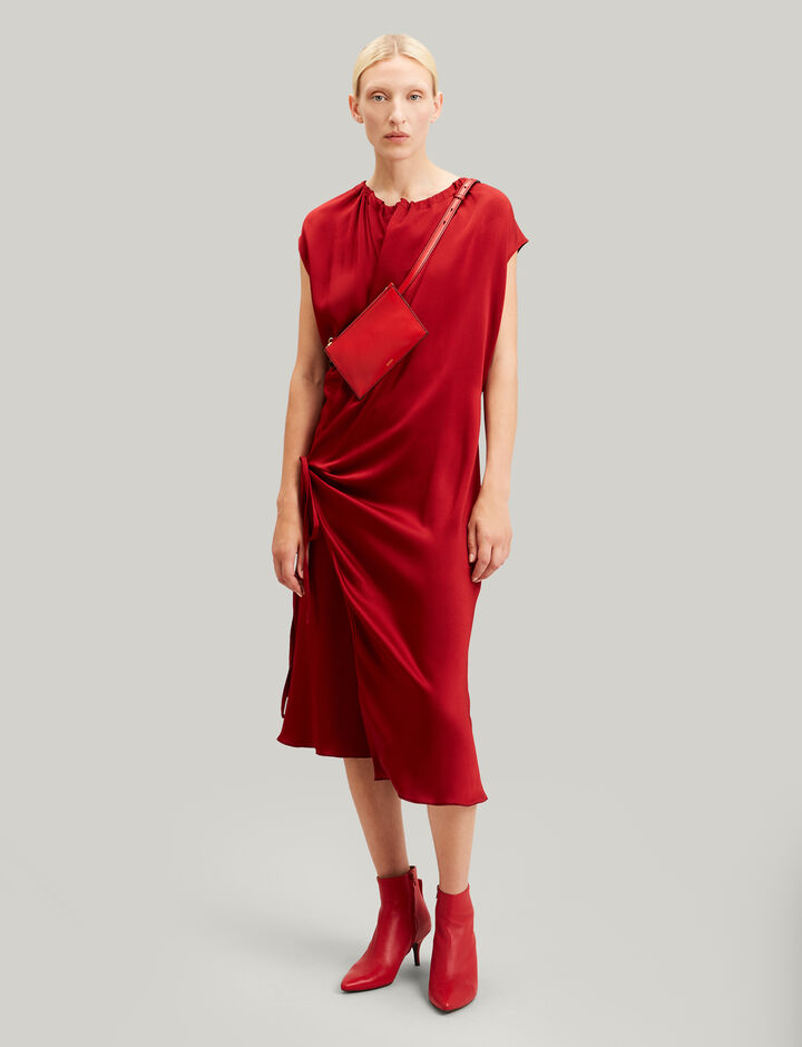 Joseph, Burgess Crepe Satin Dress, in CRIMSON
