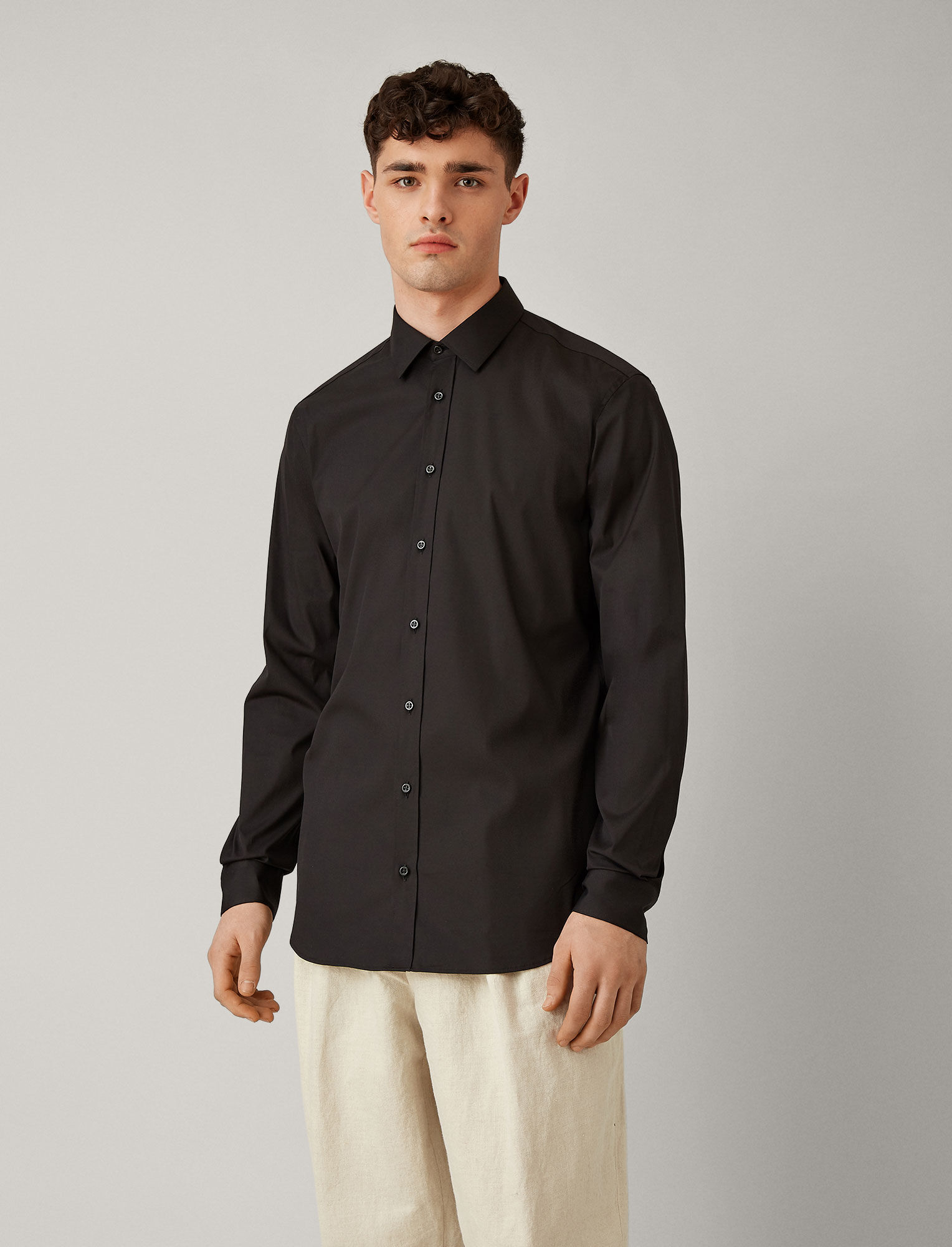 Joseph, Jim Poplin Stretch Shirt, in BLACK