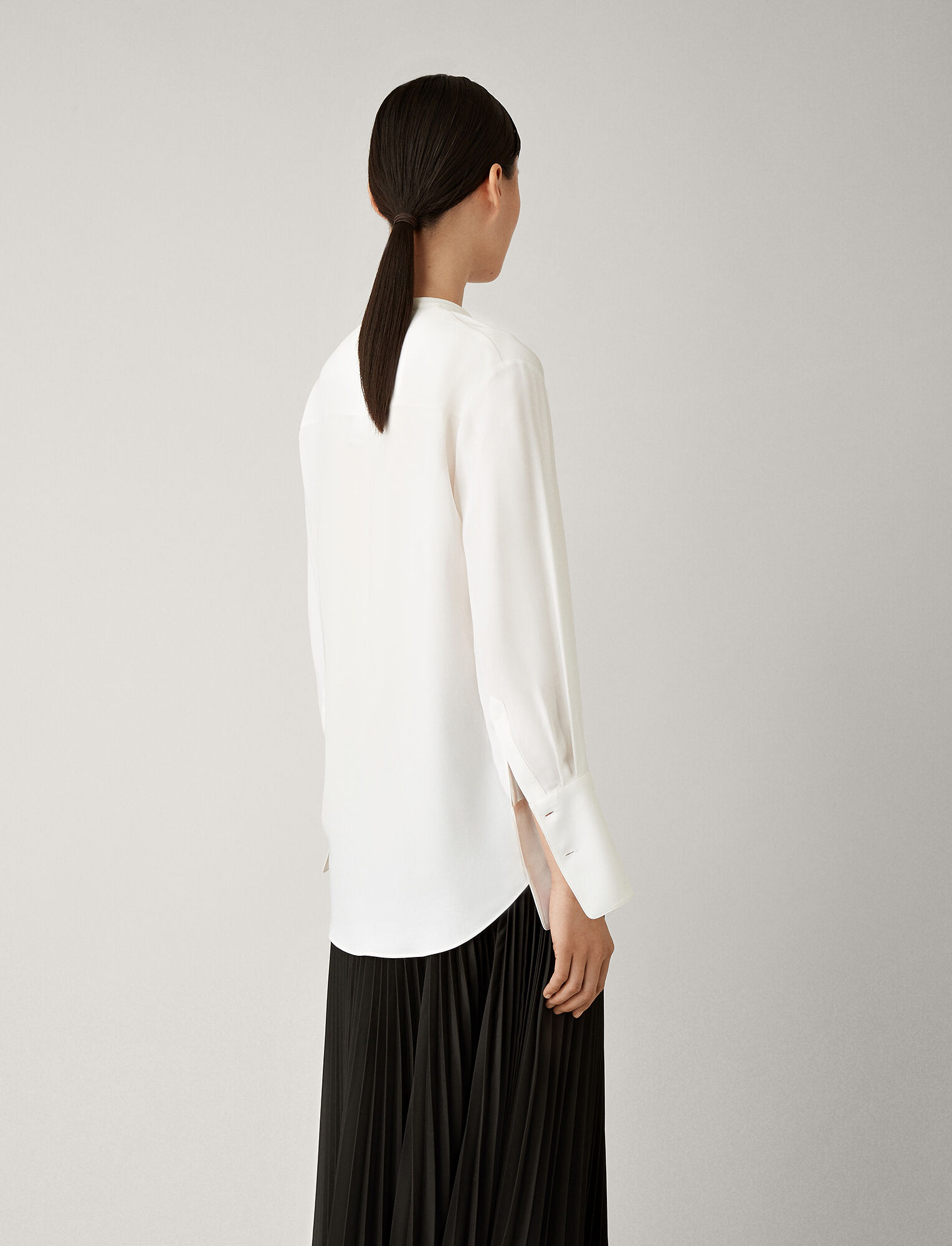 Joseph, Cristo Silk Rib Shirting Blouse, in WHITE