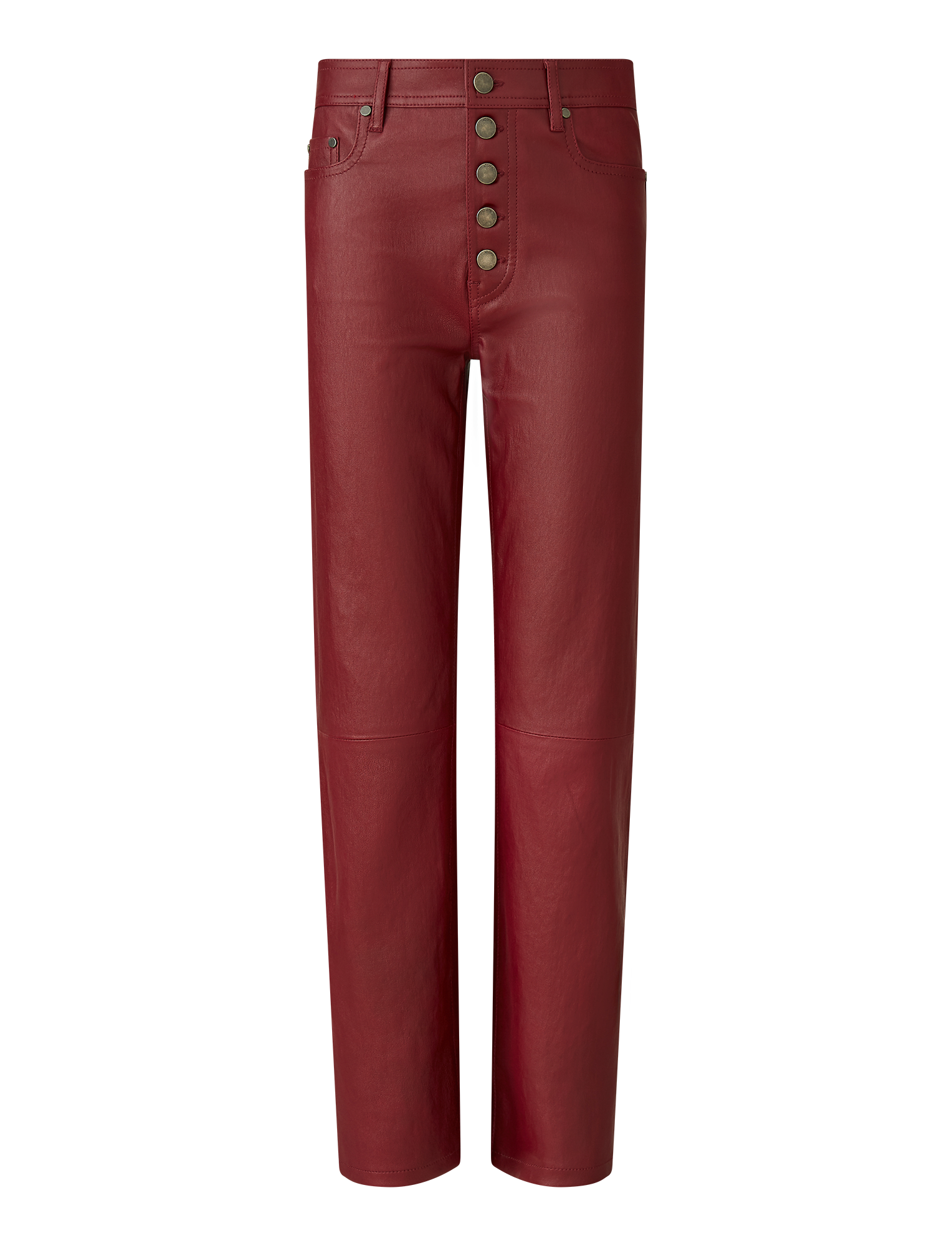 Joseph, Den Stretch Leather Trousers, in GARNET