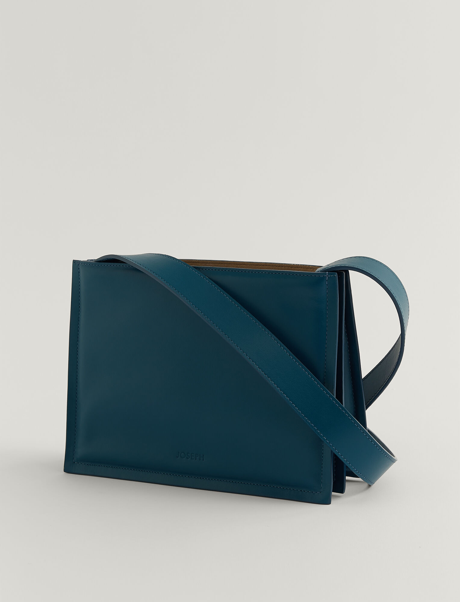 Joseph, Leather Triple Bag, in BLUE STEEL