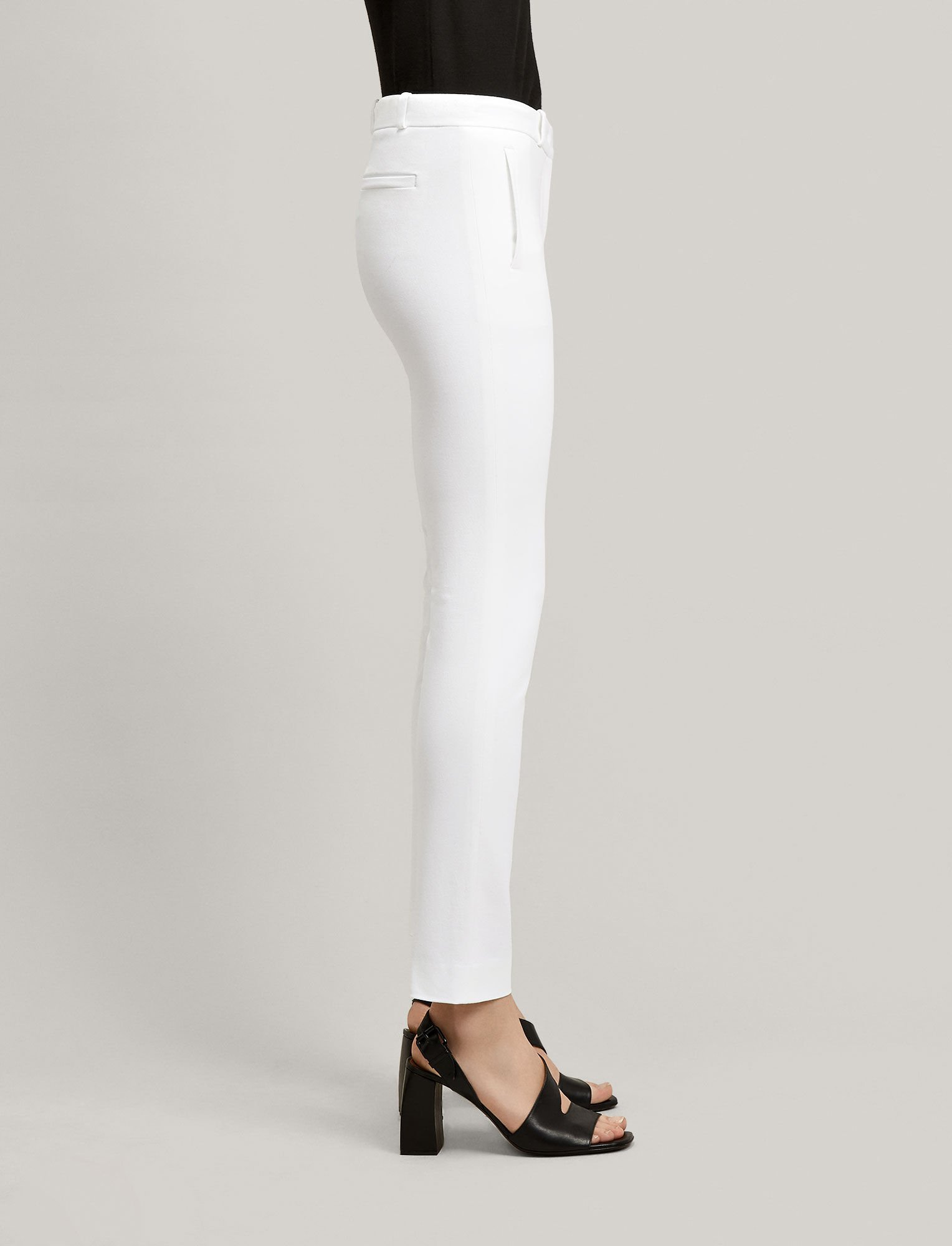 Joseph, Pantalon New Eliston en gabardine stretch, in WHITE