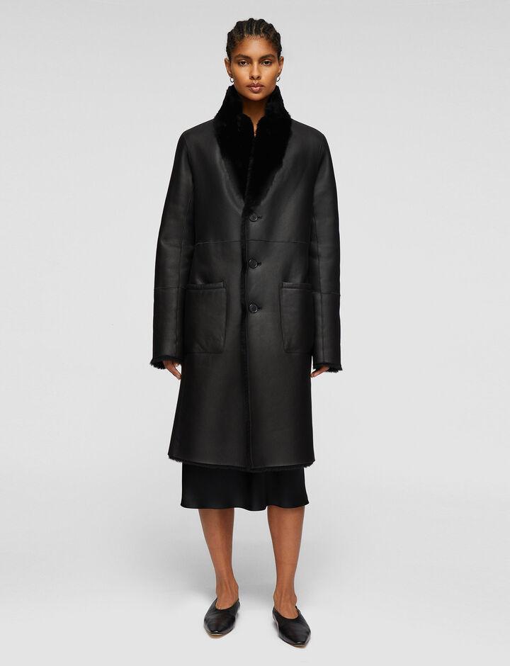 Joseph, Britanny Polar Skin Coats, in Black