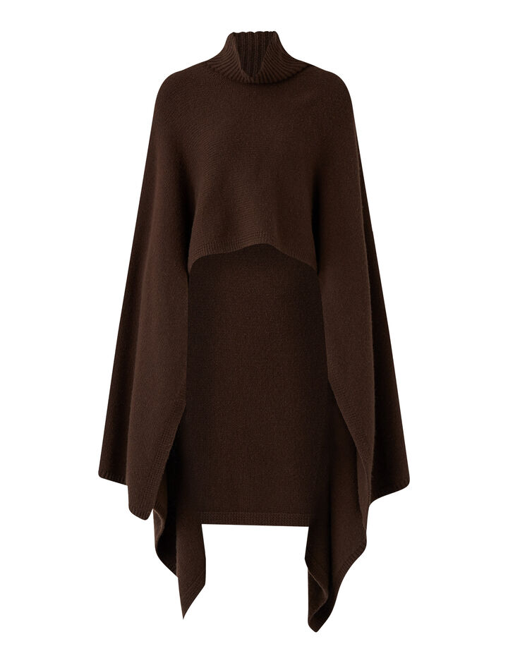 Joseph, Poncho Luxe Cashmere Knitwear, in Chocolate