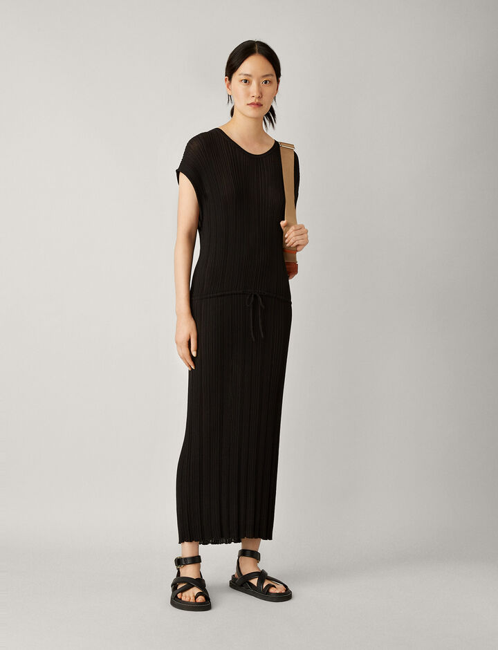 Joseph, Tyler-Pleated Cotton, in BLACK