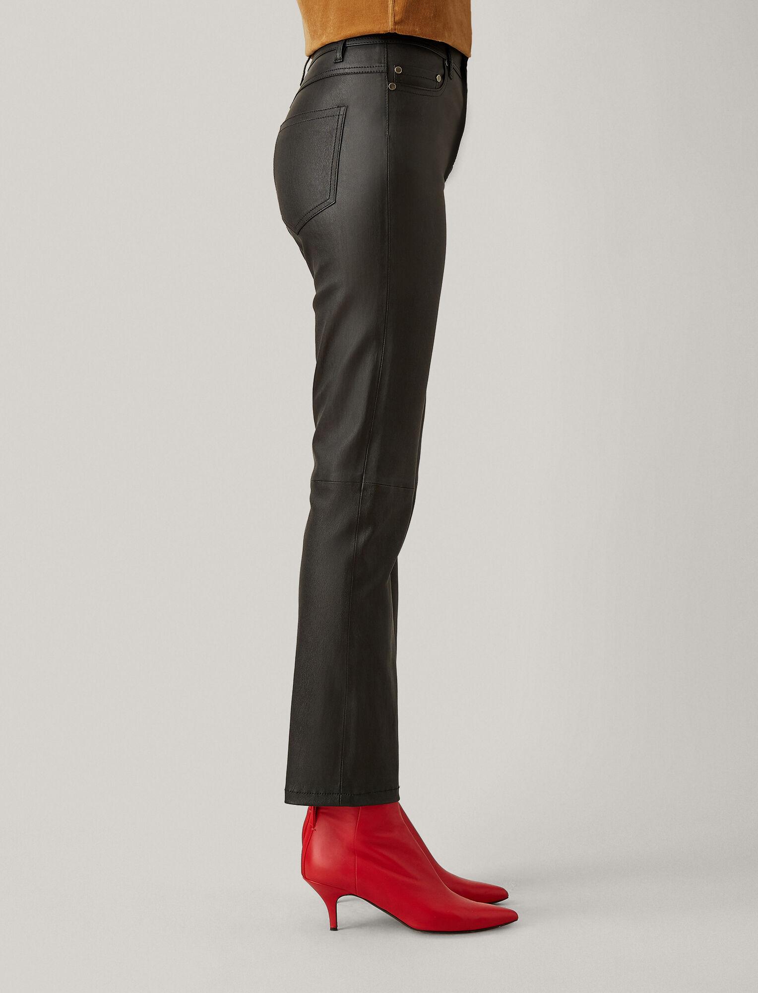 Joseph, Den Stretch Leather Trousers, in BLACK