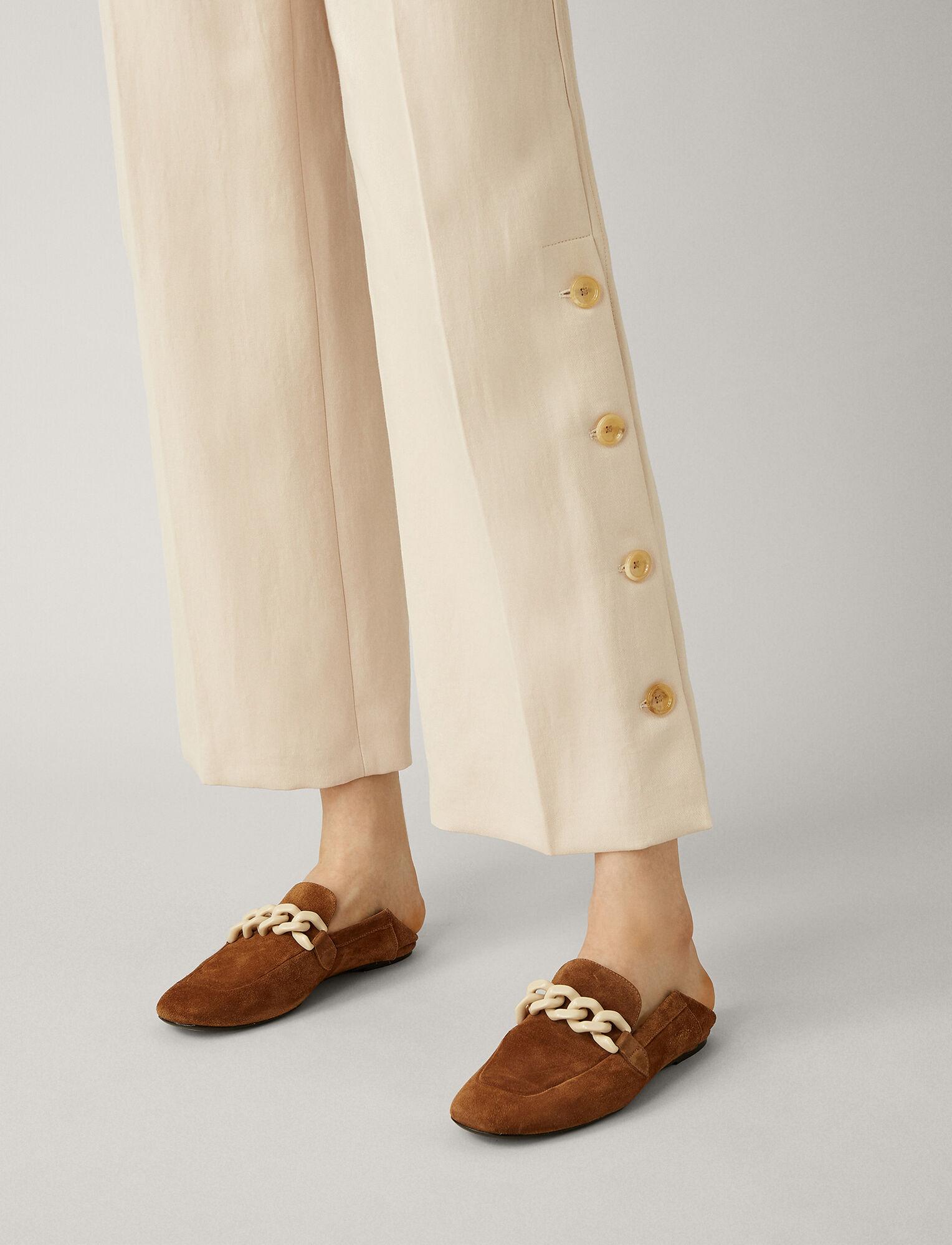 Joseph, Fade Ramie Cotton Trousers, in PEARL