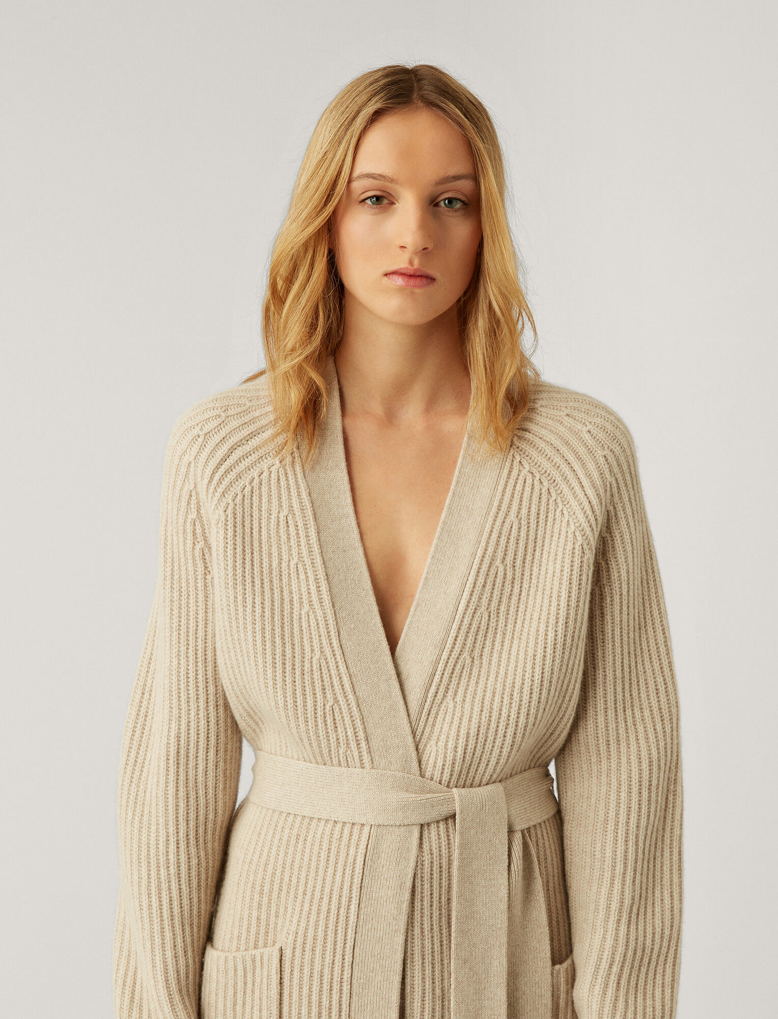 Joseph, Cardigan Cashmere Luxe Knit, in MASTIC