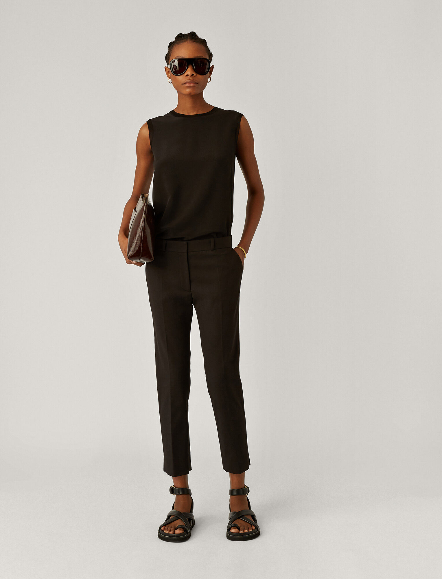 Joseph, Bing Court Double Cotton Stretch Trousers, in BLACK