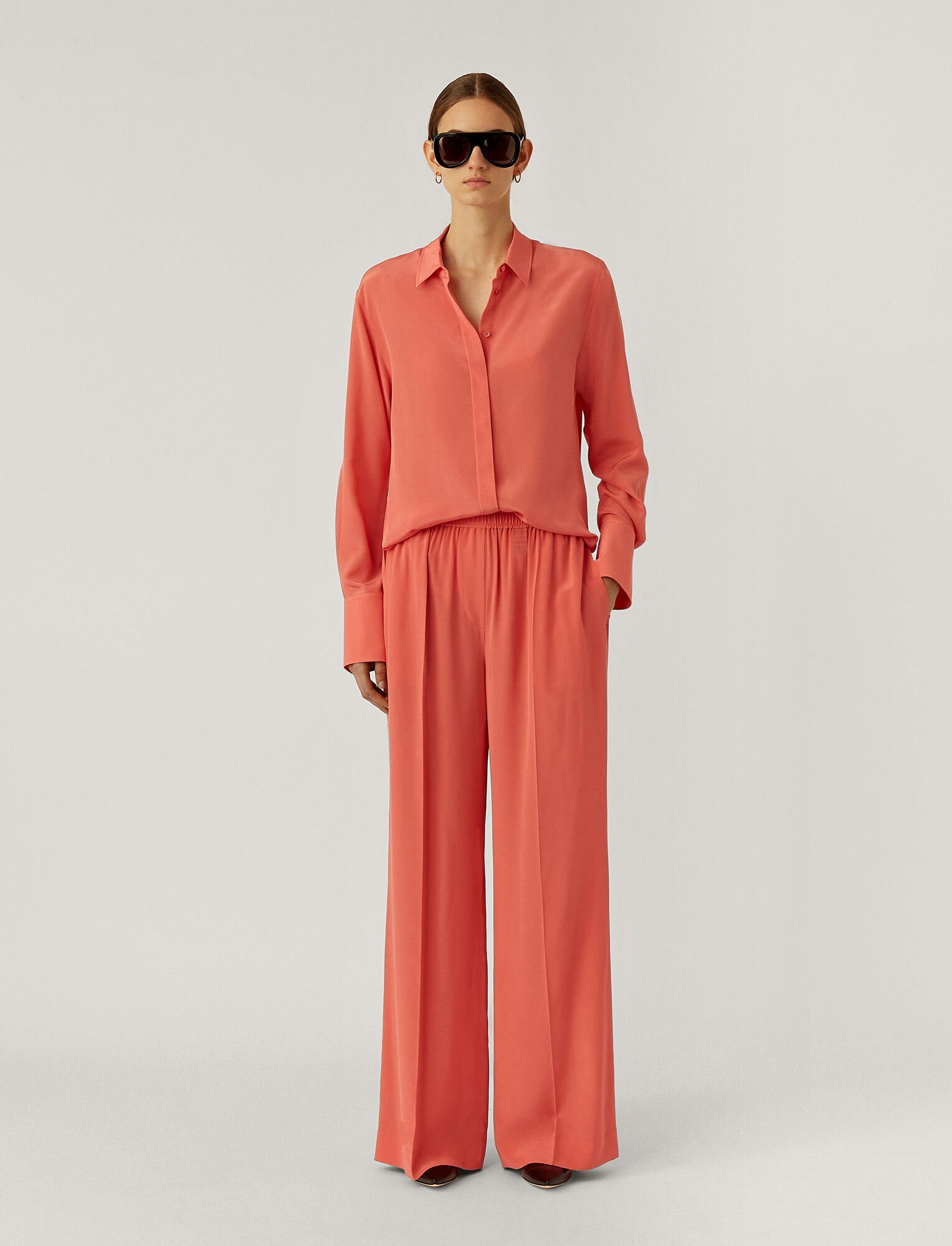 Joseph, Taffy Crepe De Chine Trousers, in Peony