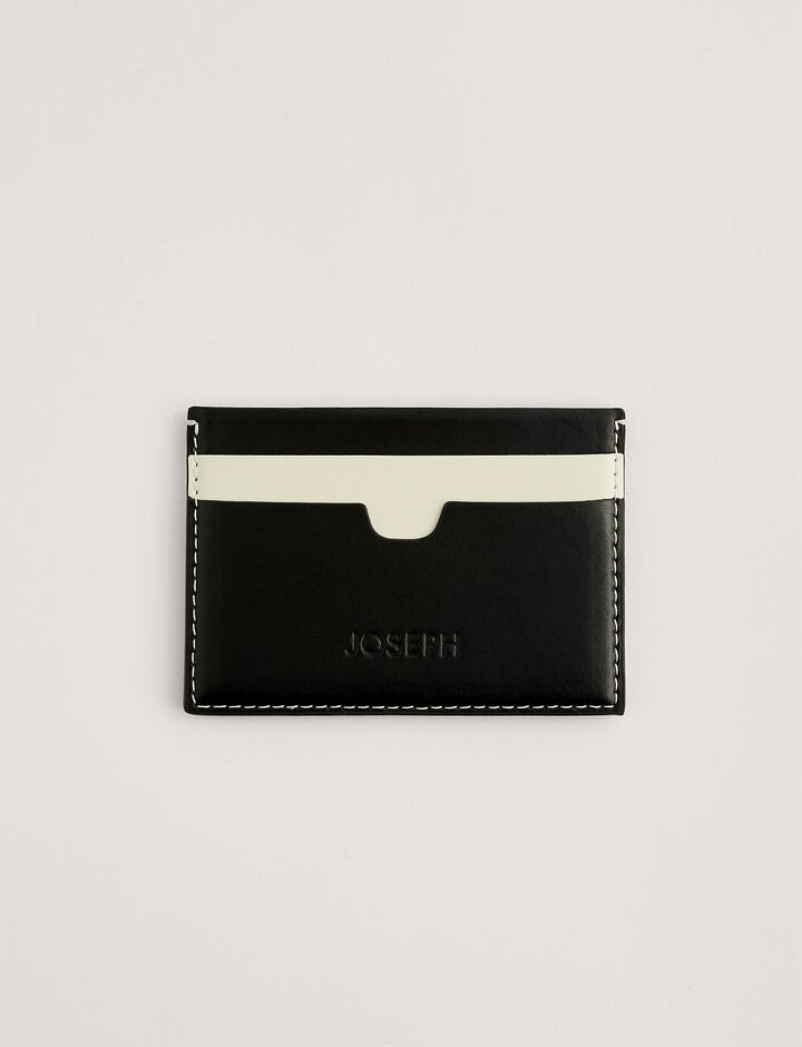 Joseph, Leather Card Holder, in MIX 4 BLACK/CREAM/BLACK