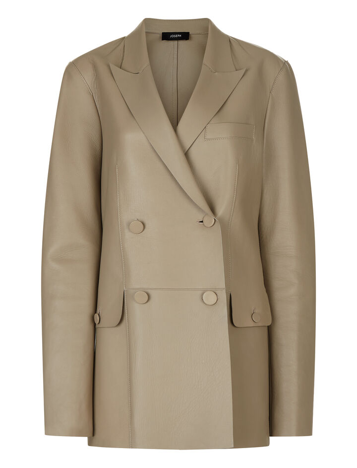 Joseph, Moore Double Leather Jacket, in FAWN