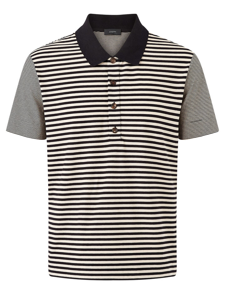 Joseph, Polo Nk Ss-Striped Jersey, in CAMEL COMBO