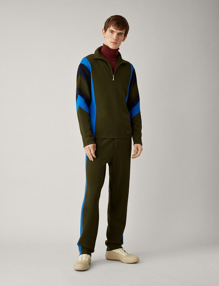 Joseph, Zip Neck Sport Milano Knit, in MILITARY
