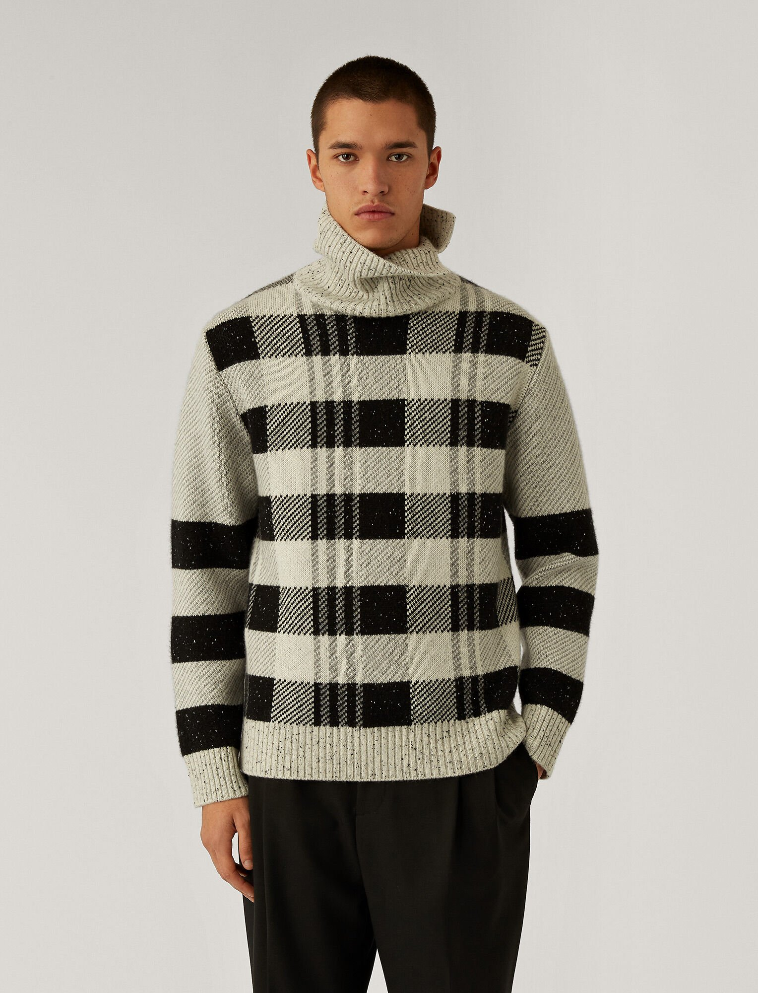 Joseph, High Neck Royal Check Knit, in Black