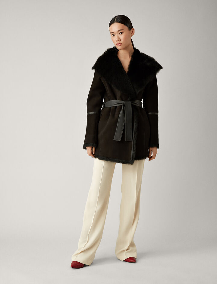 Joseph, Liman Short Soft Toscana Sheepskin, in BLACK