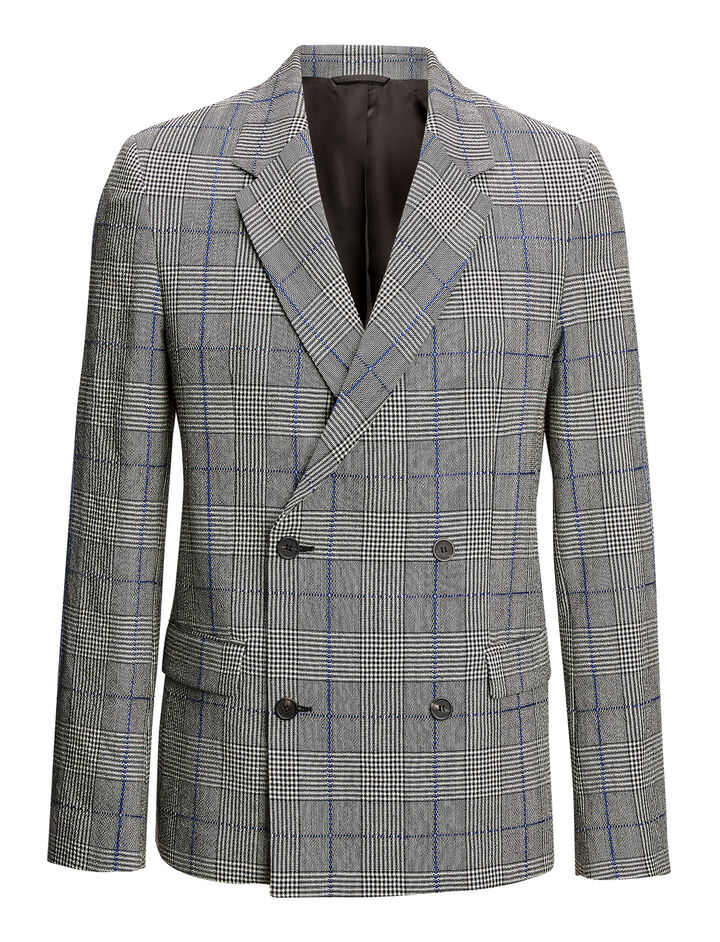 Joseph, Charles Washed Textured Check Jacket, in CHARCOAL
