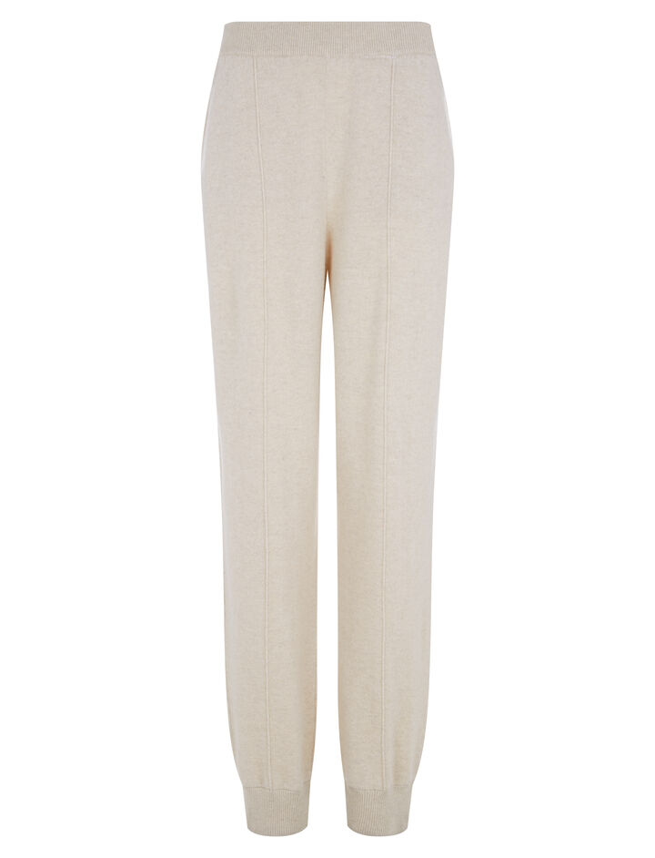 Joseph, Oversize Jog Mongolian Cashmere Trousers, in BEIGE CHINE