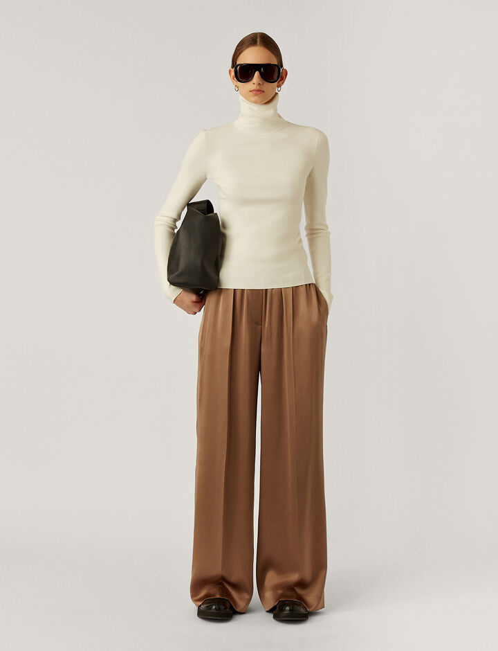 Joseph, Taffy Silk Satin Trousers, in Taupe